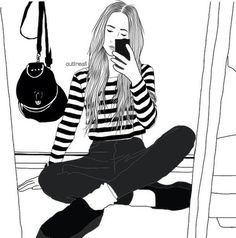 Image via We Heart It #bag #blackandwhite #draw #drawing #girl #girly #nice #outfit #outlines
