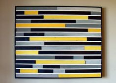 Modern Abstract Wood Sculpture Wall Art - 30x36 - Yellow, Black, Gray and White. $475.00, via Etsy.