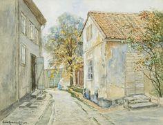 Anna Gardell-Ericson (Swedish, 1853 - 1939): Stadsbild (via Uppsala Auktionskamarre)