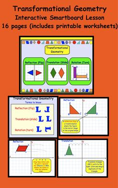 Transformational Geometry Interactive Smartboard Lesson 16 pages, includes printable worksheets Teacher Hacks, Math Teacher, Math Classroom, Teaching Math, Classroom Ideas, Math Worksheets, Math Resources, Math Activities, Printable Worksheets
