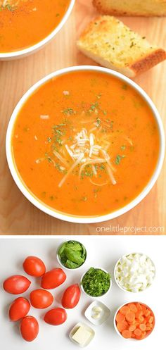 This tomato basil soup is one of my all time favourite recipes. It's the perfect soup recipe for summer! Summer Soup Recipes, Lunch Recipes, Vegetarian Recipes, Dinner Recipes, Cooking Recipes, The Best Tomato Basil Soup Recipe, Tomato Plants, Soup And Sandwich, Fresh Garlic