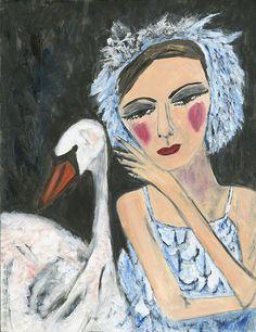 Irina's Swan.  Original oil painting by Vivienne Strauss