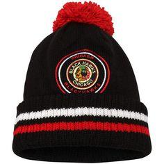 4094bf5af03 Men s Chicago Blackhawks Mitchell   Ness Black Vintage Big Man Hi-Five  Cuffed Knit Hat