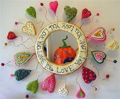 Paper Mache mirror-Sweetheart-mirror,wire and beads