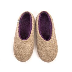 Women's organic felted slippers DUAL NATURAL purple by Wooppers woolen slippers by Wooppers on Etsy