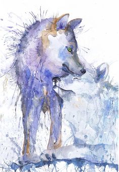 Wolf painting watercolor, two wolves art, animals couple, Illustration, poster, animal art, art print, nature painting, wolf wall art Two wolves high