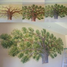 Family tree mural 2014. I'm not sure of the dimensions but I left the ladder to show scale.... by jpaulart502
