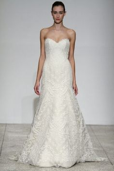 christos bridal - wedding dress - fall 2010 - femme - french corded lace, strapless fit-to-flare gown of french corded lace, in ivory/taupe Christos Wedding Dresses, Christos Bridal, Bridal Wedding Dresses, Bridal Outfits, Lace Wedding, Dream Wedding, Wedding Things, Mermaid Wedding, Wedding Stuff