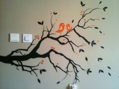 2 birds on branch wall art