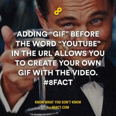 """Adding """"gif"""" before the word """"Youtube"""" in the URL allows you to create your own gif with the video."""