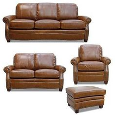 Luke Leather - Ashton 4 Piece Leather Sofa Set - LUK-Ashton-SLCO