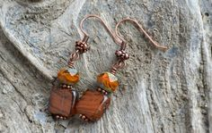 Burnt Orange Earrings, Orange & Green Czech Glass Earrings, Vintage Style Copper Earrings, Rustic Fall Jewelry