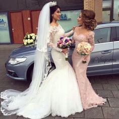 Rosa Spitze Abendkleider Appliques Brautkleider Für Hochzeit Partei Frauen Kleid