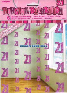 Pack OF 6 21st Birthday Party Decoration Hanging Decoration Glitz Pink | eBay
