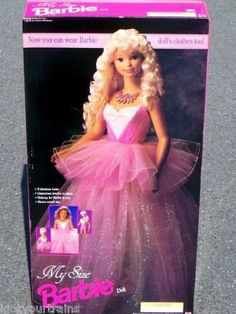 MY SIZE Barbie Doll w 3 Fabulous Looks! (1992) by Mattel. $199.99. Contents: Barbie Doll approx. 3 Feet tall, a Stretch Body Suit, a Skirt, a Tutu, a pair of Stretch Ballet Slippers, a Necklace/Tiara (Necklace becomes a sparkly Tiara), a pair of Earrings, Lip Gloss (Pretty Surprise Lickety Slicks Lip Gloss NET .25 Fl. Oz. (may NOT be usable d/t age), Nail Polish (Pretty Surprise Scented Nail Polish NET .5 Fl. Oz. (may NOT be usuable d/t age).. 3 Looks: Evening Glamour...
