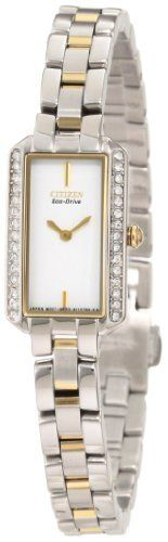 Citizen Women's EG2784-58A Eco-Drive Silhouette Crystal Watch Citizen. $180.00. Water-resistant to 30 M (99 feet); Mineral glass crystal; Stainless steel two tone; Eco-drive; 30 swarovski crystals. Save 40% Off!