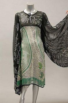 A rare and early Zandra Rhodes printed chiffon kaftan dress, 1968