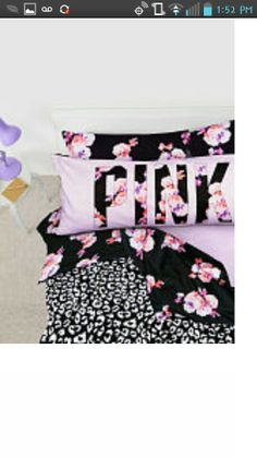 Victoria secret # new # comforter # floal # PINK # black # purple # Christmas