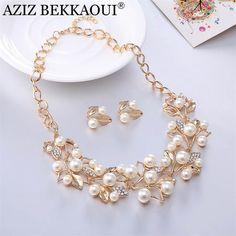 AZIZ BEKKAOUI 2017 new hot luxury statement women jewelry sets wedding necklace earrings for woman party elegant accessories