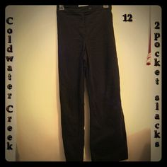 """COLDWATER CREEK 2-pocket slacks  LOOK  Gr8 buy on EUC 2-pocket slacks from COLDWATER CREEK.  Classic style!  Made in Hong Kong from 96% Cotton / 4% Spandex.  Inseam  31"""" / Waist 36"""".  From SFPF home.  ***THANK YOU FOR VISITING MY CLOSET*** Coldwater Creek Pants Straight Leg"""