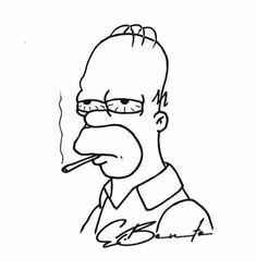Trippy Drawings, Cool Art Drawings, Pencil Art Drawings, Art Drawings Sketches, Simpsons Drawings, Simpsons Art, Cartoon Drawings, Disney Drawings, Cute Canvas Paintings