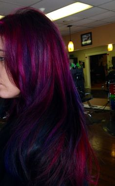 Oh, the memories of when my hair was multi-toned in colors like this. Absolutely awesome, looks like Pravana hair color may have been used? Pravana is always much more vivid in the hair...