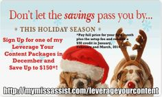 Want to start off 2014 with a blog content marketing plan?  Let My Miss Assist help.  Let's get started now and save up to $150!! http://mymissassist.com/leverageyourcontent