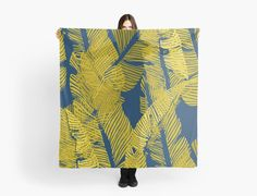 Seamless pattern design with banana leaves, vector illustration. Yellow and blue pattern, from an original linocut by DesigndN. Like getting lost in a blue jungle. • Also buy this artwork on apparel, stickers, phone cases, and more.