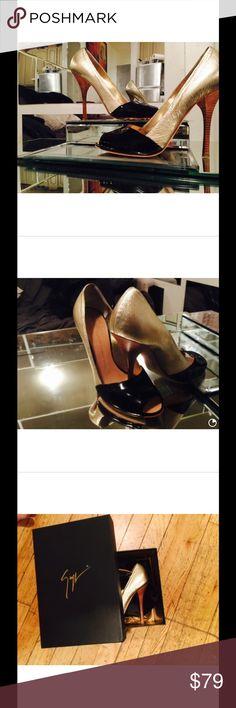 Giuseppe zanotti peep to e pumps Two tone gold and black peep toe leather pumps.Giuseppe Zanotti pumps nwt. Giuseppe Zanotti Shoes Heels