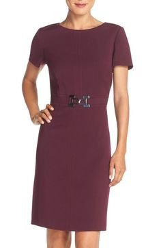 Tahari Stretch Woven Sheath Dress (Regular & Petite) (Online Only) available at #Nordstrom. Ordered this, love it for work. Purple is slightly brighter than what my monitor shows. Great fit, flattering for hourglass figure.