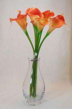 Golden Orange Calla Lily Real Touch Silk Flower Artificial Flower Arrangement