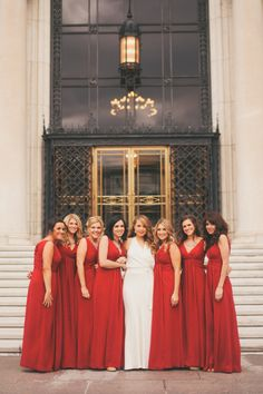 Red Bridesmaids Dresses | photography by http://www.heatherjowett.com