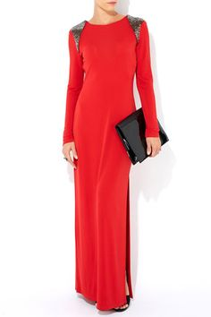 Red Beaded Shoulder Maxi Dress