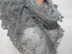 Gray Lace Scarf Shawl Tulle Cowl Scarf Gift For Mom by ScarfClub, $19.00