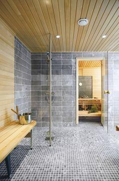 Sauna, mix of stone and wood.