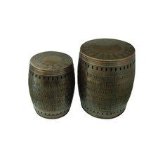 2 Piece Multiple Purpose Hand Tooled Shaped Metal Stool Set