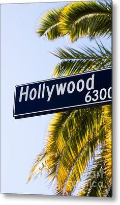 Hollywood Street Sign Los Angeles California Metal Print By Paul Velgos Hollywood Street, Tree Camping, Los Angeles California, Street Signs, Any Images, Your Image, Fine Art America, Metal, Artwork
