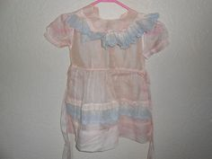1950s Vintage LITTLE GIRLS SHEER PINK AND BLUE EYELET LACE DRESS TINY TOWN TOGS #tinytowntogs #Party