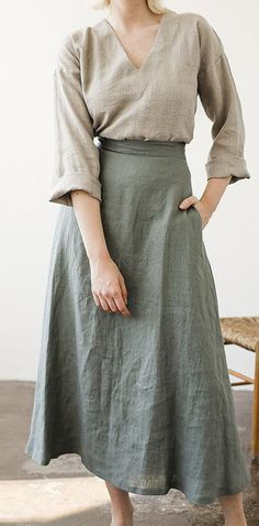 Fashion Tips Quotes gray green pockets cotton linen blended casual skirt.Fashion Tips Quotes gray green pockets cotton linen blended casual skirt Skirt Outfits, Dress Skirt, Modest Fashion, Fashion Outfits, Fashion Hair, 80s Fashion, Fashion History, Womens Fashion, Fashion Tips