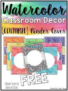 Free Editable Binder Covers and other Watercolor Classroom Decor {FREEBIES}