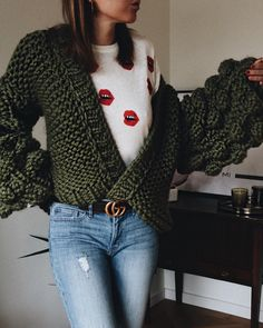 Green chunky knit sweater + jeans + Gucci belt  Street style, street fashion, best street style, OOTD, OOTD Inspo, street style stalking, outfit ideas, what to wear now, Fashion Bloggers, Style, Seasonal Style, Outfit Inspiration, Trends, Looks, Outfits.