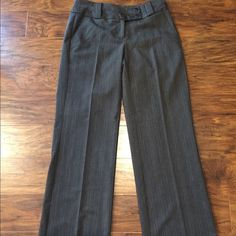 """Hilliard & Hanson dress pants Worn once... Gray pinstripe with 31"""" inseam. See photo of tag, that will reflect the look through out pant, hard to capture in photo. Great shape, heavier weighted material as well. More curve fit, wide band, sits lower on hip.. Boot cut/flare Hillard & Hanson Pants Trousers"""