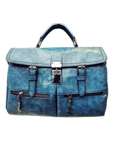 Blue Zipper Shoulder Bag | Choies