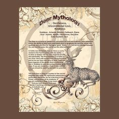 DEER MYTHOLOGY, Digital Download,  Book of Shadows Page, Grimoire, Scrapbook, White Magick, Wiccan, Witchcraft,