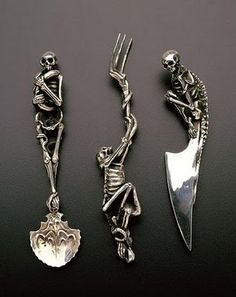 Skeleton Cutlery by Andre Lassen at Raven Armoury... a little too goth, but still very pretty