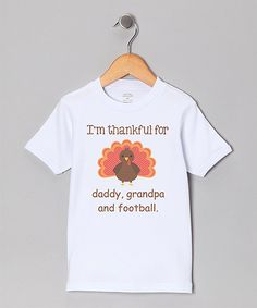 Take a look at the White 'Thankful For' Personalized Turkey Tee - Toddler on #zulily today!