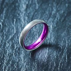 Wood Grain Damascus Steel Ring - Resilient Purple - 4MM