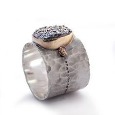Oval Grey gemstone ring Two tone Druzy ring by ArtisanFeel on Etsy