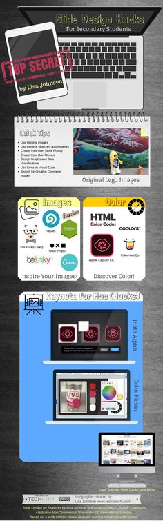 Slide Design Hacks for Secondary Students Instructional Technology, Instructional Design, Educational Technology, Visual Literacy, How To Create Infographics, Slide Design, Interface Design, Visual Communication, Student Work