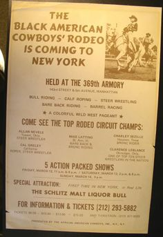 Black American Cowboys Rodeo Broadside Poster - 369th Armory New York
